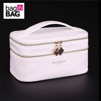 Baginbag Double Layer Cosmetic Bag Cross PU Cosmetics Multifunctional Make Up Makeup Bag Toiletry Bag trousse maquillage femme