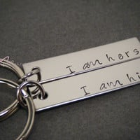 I am his I am Hers Keychains, Engraved Couples Keychains, His Hers Keychains