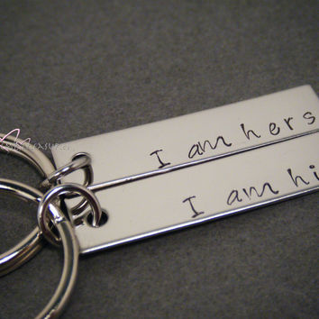 Valentines Day Gift, I am his I am Hers Keychains, Engraved Couples Keychains, His Hers Keychains
