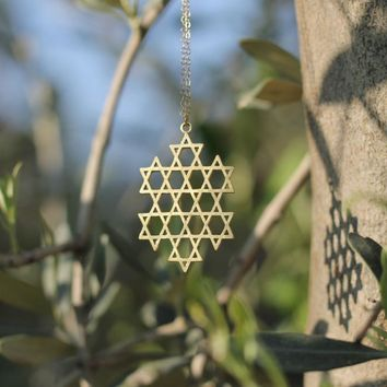 10PCS Star of David Necklace Gold Flower of Life Necklace Kabbalah Mandala Pendant Necklace Geometry Jewelry