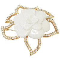 Chanel Ceramic and Diamond Camellia Pin