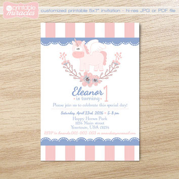 Printable unicorn invitation, Girl birthday invite, Pegasus birthday, Unicorn party, Cute 1st birthday invite, Rose quartz & Serenity colors