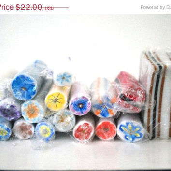 On Sale Raw Polymer Clay Flower Canes, Handmade Fimo Canes, Unbaked Flower Canes, Bulk Lot of Canes