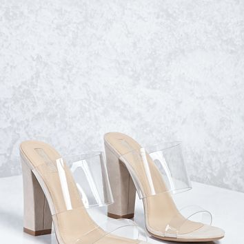 Translucent Faux Suede Heels