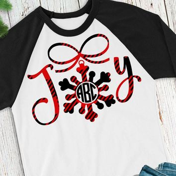 Buffalo Plaid Monogram svg,Joy Monogram svg,Christmas Shirt,Plaid svg,Buffalo Plaid svg,Christmas Plaid svg,Cricut Designs,Silhouette Design