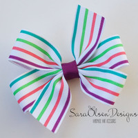 Pinwheel Hairbow, Striped Hairbow, Purple Pink Blue Green, Toddler Hairbows, Hair Clips, Petite Bows, 3 Inch, Toddler Hairbow