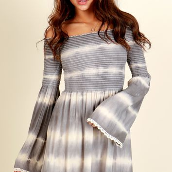 Boho Vibes Tie Dye Dress Grey