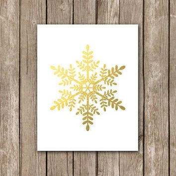 Faux Gold Foil Snowflake Wall Art   Christmas Printable Home Decor   Winter Digital Art Print   Instant Download