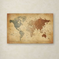 """Time Zones Map of the World"" by Michael Tompsett Graphic Art on Wrapped Canvas"