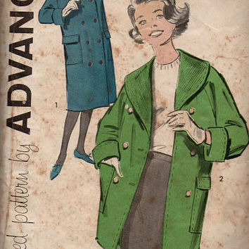 1950s Advance Sewing Pattern Warm Winter Coat Shawl Collar Double Breasted Deep Patch Pockets Raglan Sleeves Bust 36