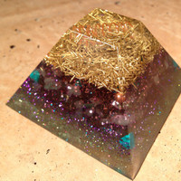 Flat Top Orgonite Pyramid, Rose Quartz, sacred geometry, spiritual gifts