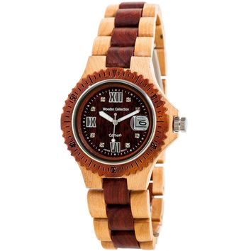 Tense Men's Compass Collection Wooden Watch - Two-Tone Maple & Sandalwood