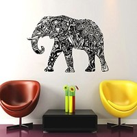 Wall Decals Elephant Indian Pattern Decal Vinyl Sticker Decor Home Interior Design Murals Bedroom Dorm Window MN 313