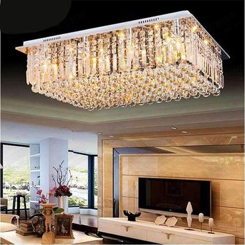Modern led dining room chandelier large crystal lamp bedroom atmosphere living room lights colorful simple rectangular villa led