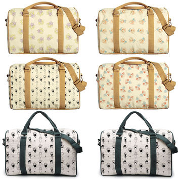 Pencil Drawing Little Girls Printed Canvas Duffle Luggage Travel Bag WAS_42