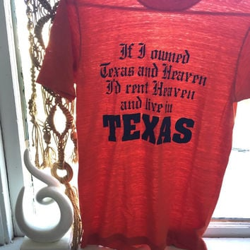 RARE 80s 70s Vintage Texas Tee Small Medium | Paper Thin Burnt Orange Longhorns UT Graphic Tee | 50/50 Iron On Graphic Funny t shirt S M Xs