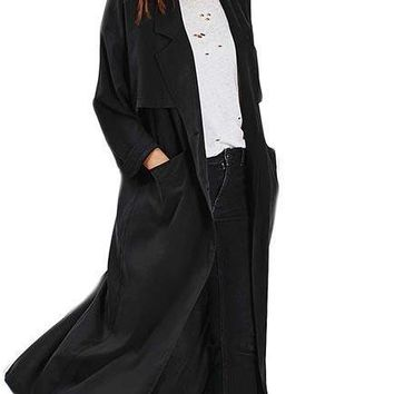 Fashion Slim Basic Coats Women Long Sleeve Female Brief Style Long Line Outwear Turn-down Collar Casual Trench Coats