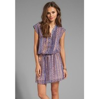 LA Made Tribal Printed Drop Waist Dress in Blue
