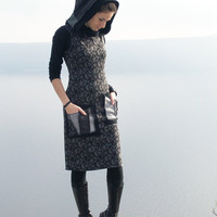 Black gray dress - Sleeveless dress with hood - Short patchwork dress - Hoody dress