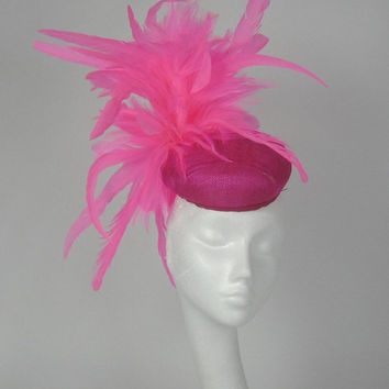 Bright Pink Fascinator Hat for Weddings, Races, and Special Events With Headband