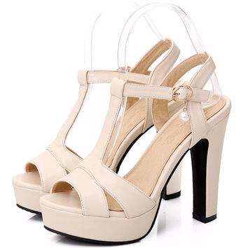 T-Strap Women's Platform High Heels Party Dress Shoes Woman