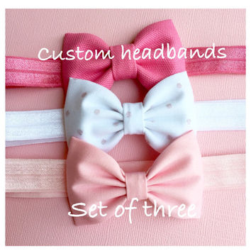 Set of three custom headbands headband head band headbands for girls bow headband for toddlers bow headbands for babies headbands for teens