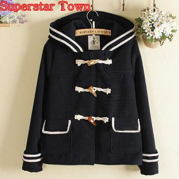 Female Navy Jacket Short Lolita Coat Women Hoody Jacket Ladies Horn Button Harajuku Mori Girl Sailor Sweet Clothes Preppy Style