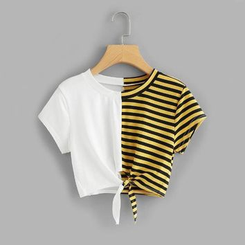 Contrast Striped Knot Front Crop Tee Shirt Women Summer Casual Crop Top