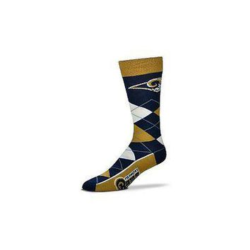NFL Los Angeles Rams Argyle Unisex Crew Cut Socks - One Size Fits Most