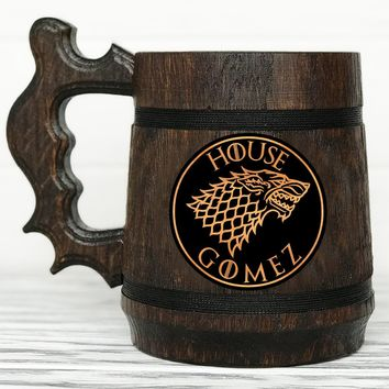House Stark Mug. Game Of Thrones Mug. Personalized GoT Gift. Custom Game Of Thrones Beer Steins. Game of Thrones Gift. Wooden Beer Tankard. Gifts for Men. Wooden Beer Mug #49 / 0.6L / 22 ounces