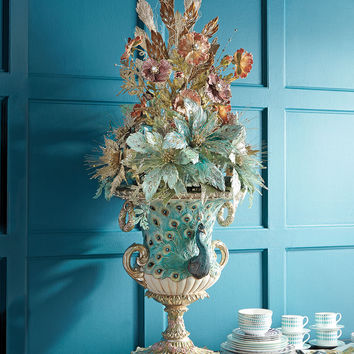 Botanica Floral Peacock Urn - Katherine's Collection