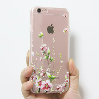 Spring  Pink Flowers iPhone 6S 6 Clear Case iPhone 6 Plus Transparent  iPhone 6S Plus Soft Rubber Case  N0039