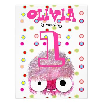 pink funny cute monster girl's first birthday