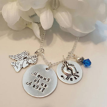 Mommy of an Angel hand stamped memorial necklace. Loss of children, grandchildren, memorial - Miscarriage gift - Loss of Pregnancy -