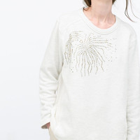 White Floral Beading Knitted Long Sleeves Pullover  Sweater