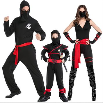 Adult Kids Halloween Family Ninja Assassin Warrior Costume Idea Boy's Super Man Hero Black Cosplay Outfit Sets For Children S-XL