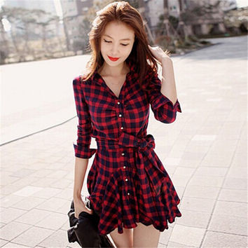 Women Retro Long Sleeve Dress Red Plaid Lapel Shirt Mini Belted Casual Dresses 2017