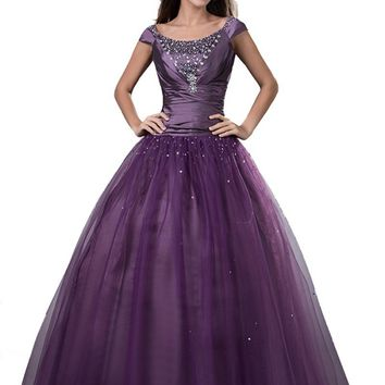 Purple Ball Gown Long Modest Prom Dresses 2017 With Short Sleeves Real Corset Back Beaded Floor Length Teens Formal Prom Gowns