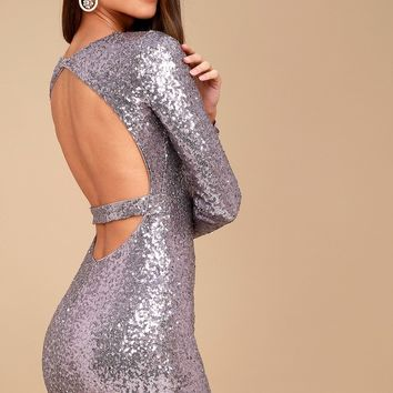 Star Sighting Lavender Backless Sequin Bodycon Dress