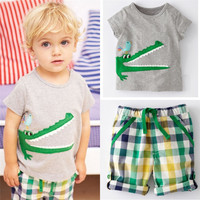 Cartoon Crocodile Print Baby Kids Boys Clothes Set
