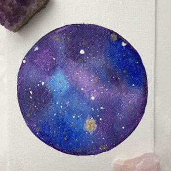 Mini Galaxy Moon Acrylic Painting, Canvas Painting, Acrylic