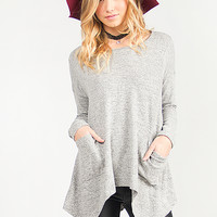 Flowy Tiger Brushed Double Front Pocket Top