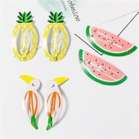 1 Pair Children Novelty Fruit Watermelon Pineapple Hairpins Hair Accessories For Girls Hairclip Barrette Candy Color Clip