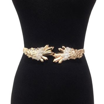 Trendy Designer Gold Chain Belt Luxury Rhinestone Buckle Waist Stretch