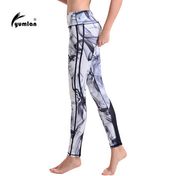 Yumlan Woman Running Trousers Printed Running Tights Fitness Leggings Gym Sports Pants Ladies Running Clothes