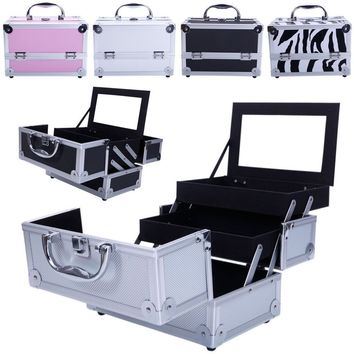 Aluminum Makeup Train Jewelry Storage Box Cosmetic Lockable Case Organizer