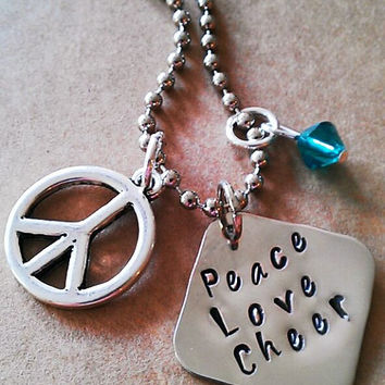 """Hand Stamped """"Peace Love Cheer""""  Necklace"""