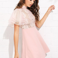 Layered Flounce Sleeve Lace Bodice Dress