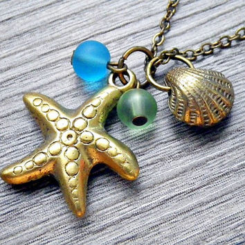 starfish, clam & sea glass necklace