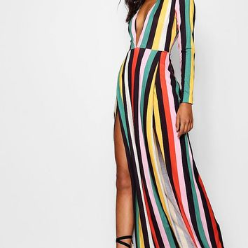 Tall Plunge Side Split Stripe Maxi Dress | Boohoo